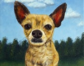 Bear the Chihuahua - RESERVED FOR KATIE, pet portrait, dog portrait, chihuahua painting, original oil painting, Helen Eaton