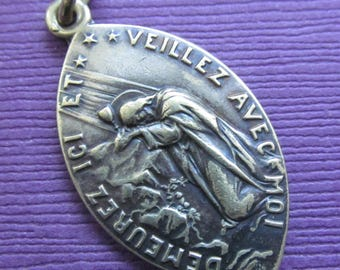 Jesus In the Garden at Gethsamane and Sacred Heart Antique Religious Medal SS-334