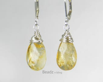 Citrine Dangle Earrings Wire Wrapped Yellow Gemstone Teardrop Earrings Lever Back Ear Wires