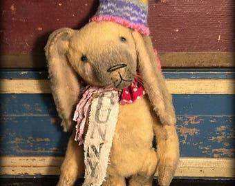 Bunny rabbit, handmade doll, artist teddy bear, artist gifts, primitive antique decor, Easter spring decor ~ Brady Bears Studio