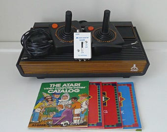 Atari 2600 Video Game System, Vintage Atari Console, Stranger Things Gift for Men, 80s Gift for Gamer, Complete with 4 Video Games