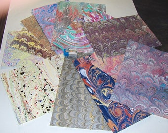 pack 12, hand  marbled paper,, マーブル紙,   marmorpapier.  -  cm 25 x 17,5  -  5998