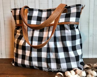 BagEnvy Handbags - Monterey Large Diaper Bag - with Vegan Leather - In Black and White Buffalo Plaid - or Custom Design Your Own