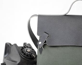 Leather Leather Messenger Bag Cross Body Bag Leather Laptop Bag Military Waxed Canvas Bag Leather School Bag Military bag water proof