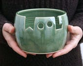 IN STOCK - The 'wool' yarn bowl, hand thrown custom pottery yarn bowl in forest green