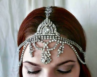 Vintage Art Deco Headpiece, True Vintage, One of Kind Rhinestone Headdress for Wedding, Formal, Bridal Headpiece, Prom, Burlesque Headdress