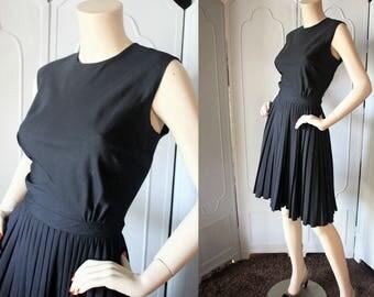 Vintage 50's Avalon Black Day Dress with Knife Pleat Skirt.