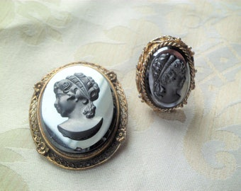 Vintage Black Glass Cameo Brooch & Ring