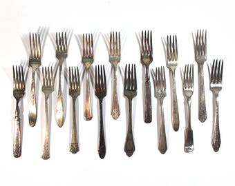 Set of 15 Silver Plate Scrap Dinner Forks • Craft Supplies