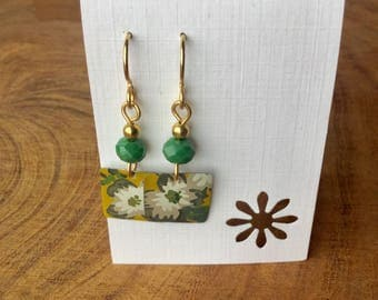 Repurposed candle tin earrings, floral, tin