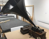 Antique Edison Phonograph Home player Morning glory horn shipping is not free
