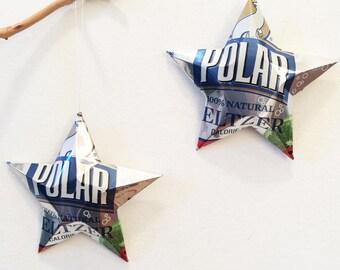 Polar Seltzer Water Can Stars, Christmas Ornament Stars