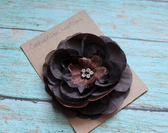 Chocolate Brown Multi-Layered Flower Hair Clip
