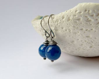 Blue agate silver earrings, wrapped earrings, natural jewelry, dangle earrings, 40th birthday gift, 50th, for mother, for sister, for her