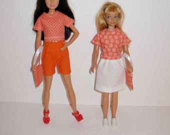 Cute mix and match outfits for barbies' sister skipper (vintage & modern dolls) Handmade barbie clothes