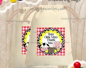 5 PAK Farm Animals Cotton Muslin Drawstring Favor Gift Bag / 4x6  / Boy Girl Farm Birthday / Cow Pig Sheep / Baa Oink Moo /   3 Day Ship
