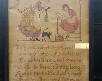 Vintage Antique Hand Stitched Need Craft Picture