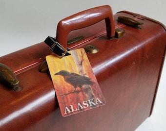 Raven Luggage Tag - Alaskan Autumn Birch Forest