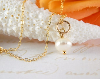 Gold Fill 18 inch Charm Necklace ~ Pearl Charm Necklace ~ add a charm ~ add a dangle ~ AdoniaJewelry