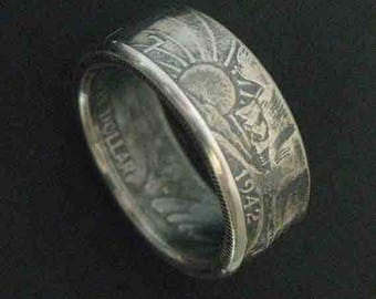 Hand Forged Double Sided Silver (90%) Coin Ring - US Walking Liberty Half Dollar Coin