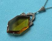 Pendant Necklace Art Deco Pale Topaz Glass Rhinestones Vintage c.1930's Signed Czechoslovakian Silver Toned Setting