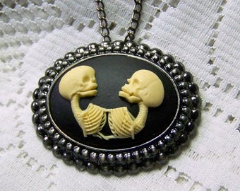 Conjoined Skeleton Twins Cameo Necklace Brooch, Skulls Goth Halloween Steampunk Skeletons Pin Necklace combination, Two Skeletons Two Skulls