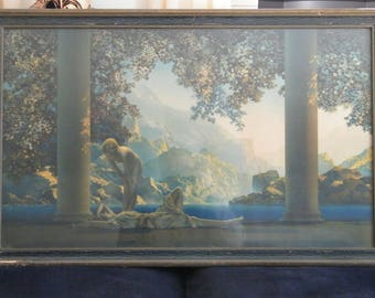Large Maxfield Parrish Daybreak Print original frame
