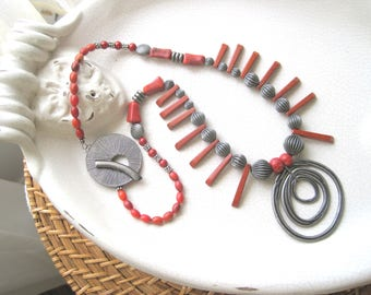"""red jasper stones, Native American inspired design, 22"""" necklace with  gunmetal accents"""