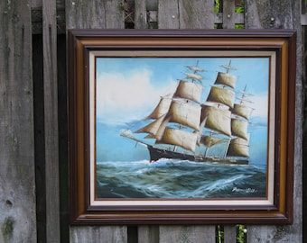 Vintage Oil Painting of a Clipper Ship by Preston Willis