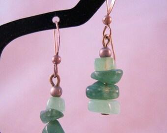 XMAS in JULY SALE Green Agate Nugget Drop Dangle Earrings Sterling Silver Vintage Jewelry Jewellery