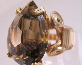 XMAS in JULY SALE Vintage Smoky Quartz Cushion Cut Pearl Shaped Ring Gold Filled Wire Wrapped Size 7 - 22.5mm x 16mm