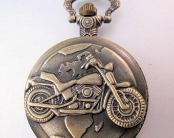 XMAS in JULY SALE Motorcycle Biker Motorbike Pocket Watch with Belt Chain Vintage Style