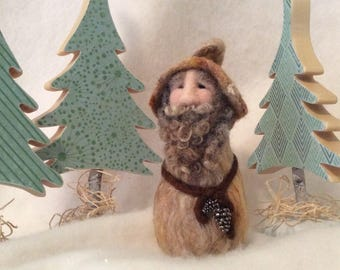 Curly Bearded Gnome Needle Felted Wool Fun Home Decor