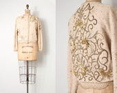 vintage 1950s beaded sweater /  50s cream and gold heavily embellished cardigan (medium m)