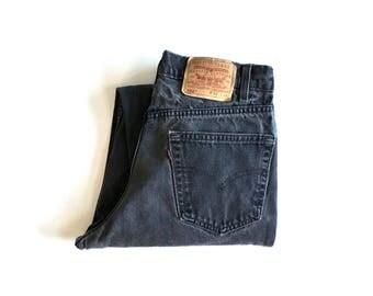 Vintage Men's 90's Levi's 550, Jeans, Black, Relaxed Fit, Denim (W32 x L32)