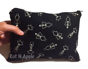 Skeleton leopard print Zipper Pouch - Cosmetic Purse - Makeup Bag - Fully Lined zipper Pouch -Bag - Purse
