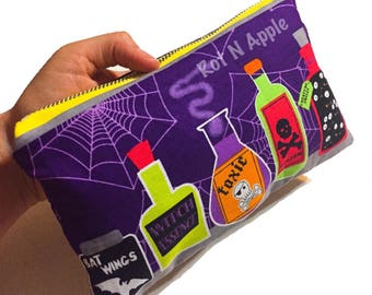 Potions and spells purple Zipper Pouch - Cosmetic Purse - Makeup Bag - Fully Lined zipper Pouch -Bag - Purse