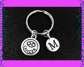 Cancer zodiac keyring, cancer astrology keychain, July birthday gift, horoscope star sign zodiac gifts, personalised initial key chains, UK