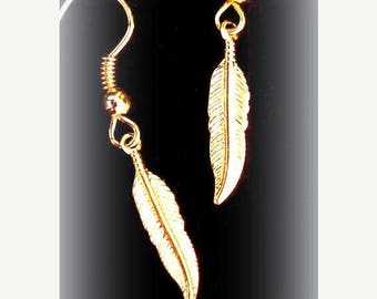 SALE GOLD FEATHER Earrings - Smaller size