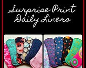 Surprise Print Cloth Daily Liners with Wings, Menstrual Pads, Reusable Cloth Pantyliners, Cotton