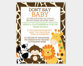 Don't Say Baby Printable Jungle Baby Shower Game INSTANT DOWNLOAD bs-128