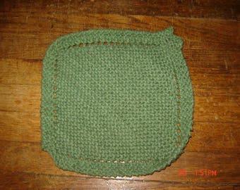 Hand Knit Dishcloth 100% Cotton Homemade Washcloth Sage Green