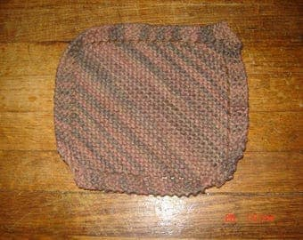 Hand Knit Dishcloth 100% Cotton Homemade Washcloth Brown Camo