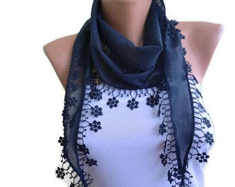 Navy Blue cotton lace scarf-ivory Dark blue/Navy skinny scarf-Buy 3,get 1 free-Scarflette with lace trim-Skinny scarf headband-