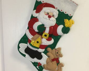 "Bucilla Completed Felt 18"" SANTA AND KITTY Christmas Stocking"