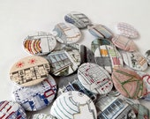 Stitched Recycled Vintage Architecture Journal Badges, Embroidered Abstract Patterns. Designs 9 - 16