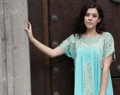 PRIVATE LISTING Pale Aqua Mint and  antique gold embroidery Mexican Wedding Dress