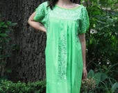 Lime greem with chartruese embroidery Mexican Wedding Dress