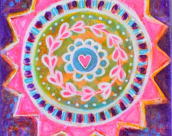 Love Mandala // Original Acrylic Painting - 8 x8
