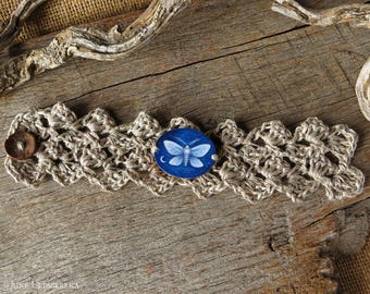 Moth - Hand Painted Bracelet/Cuff